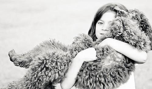 女の子に抱えられる犬